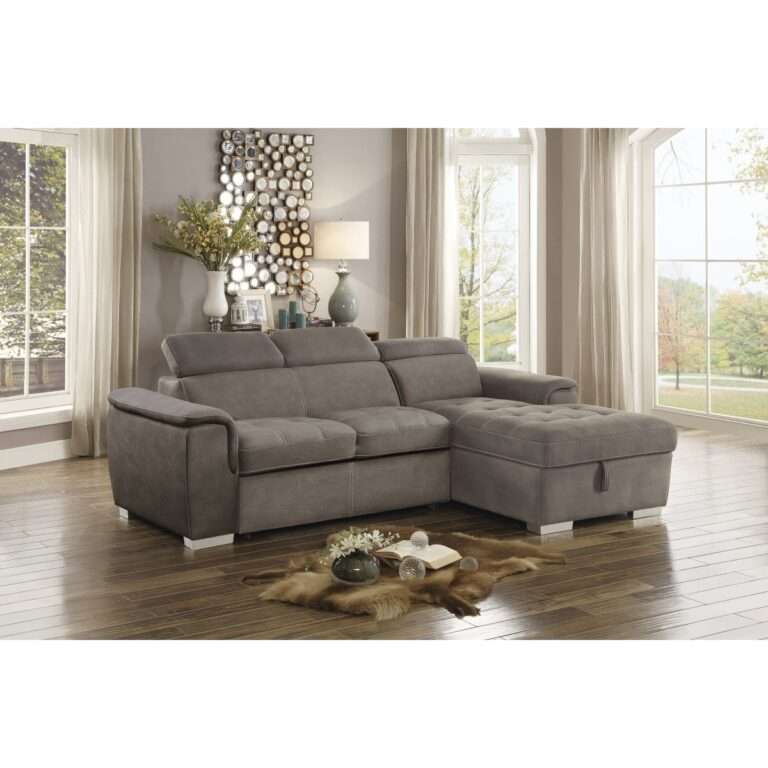 2 Piece Sectional with Pull out Bed and Hidden Storage ...